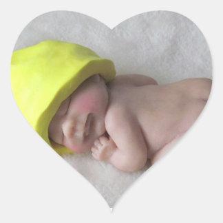 Clay Baby Sleeping on Tummy, Elf Hat, Sculpture Heart Sticker