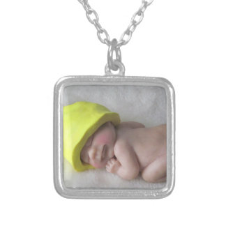 Clay Baby Sleeping on Tummy, Elf Hat, Sculpture Silver Plated Necklace