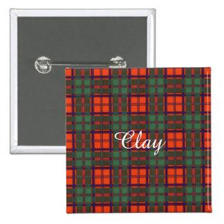 Clay clan Plaid Scottish kilt tartan Pinback Button