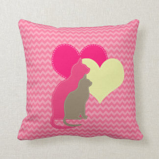 Clay, Cream, Pink Cats on ChevronThrow Pillow