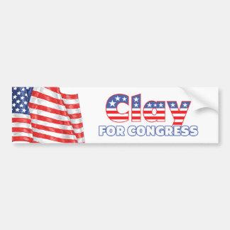 Clay for Congress Patriotic American Flag Bumper Sticker