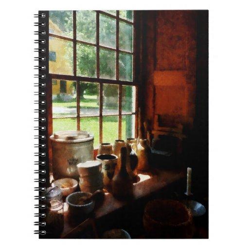Clay Jars on Windowsill Notebook