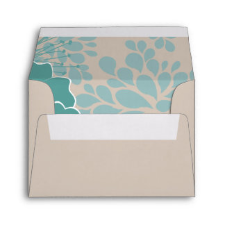 Clay Outside Blue Petals Lined RSVP Envelope