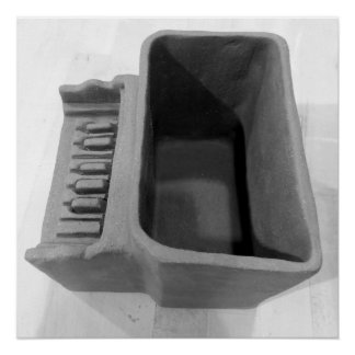 Clay Piano Pot in Black & White (Grayscale) Poster