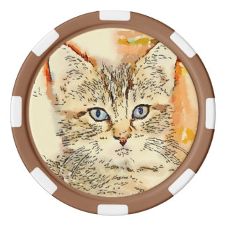 """Clay Poker Chips - """"Blue Eyed Kitty"""""""