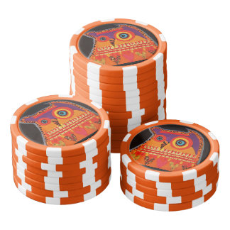 Clay Poker Chips/Orange Striped with Cool Owl Poker Chips Set