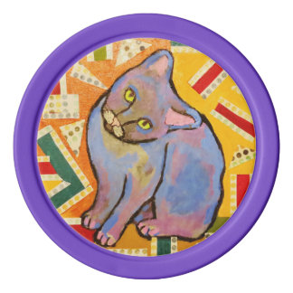 Clay Poker Chips/Purple Edge with Cute Cat Poker Chip Set