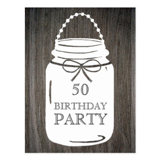Clay Rustic Mason Jar Any Age Birthday Party Postcard