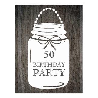 Clay Rustic Mason Jar Any Age Birthday Party Postcard