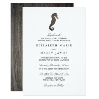 Clay Seahorse Beach Wedding Card