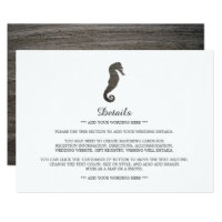 Clay Seahorse Beach Wedding Detail Card