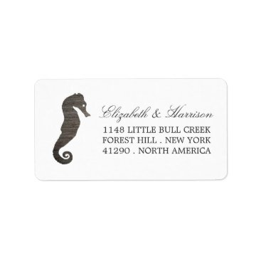 Beach Themed Clay Seahorse Beach Wedding Label