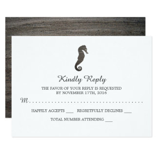 Clay Seahorse Beach Wedding RSVP Card