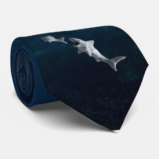 Clay Shark After Fish Deep Blue Water Necktie