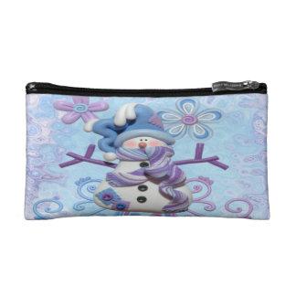 Clay snowman wristlet bag