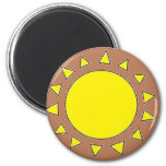 Clay Sun Symbol 2 Inch Round Magnet