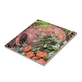 """CLAY VASE ON SIDE IN GARDEN"" CERAMIC TILE/TRIVET CERAMIC TILE"