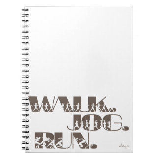 CLAY WALK JOG RUN (font CHUNKY  with people) Spiral Notebooks