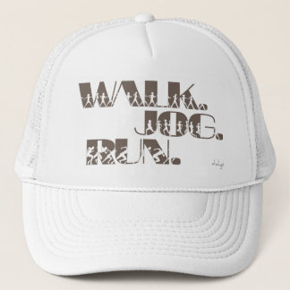 CLAY WALK JOG RUN (font CHUNKY  with people) Trucker Hat