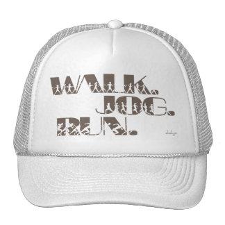 CLAY WALK JOG RUN (font CHUNKY  with people) Trucker Hat
