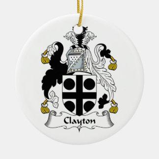 Clayton Family Crest Ceramic Ornament