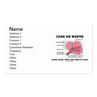Clean Air Wanted Because Smoke Smog Dust Ruin My Business Card