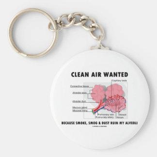 Clean Air Wanted (Health & Medicine Alveoli Humor) Key Chain