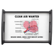 Clean Air Wanted Health & Medicine Alveoli Humor Serving Tray