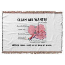 Clean Air Wanted Health & Medicine Alveoli Humor Throw Blanket