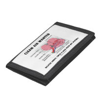 Clean Air Wanted Health & Medicine Alveoli Humor Trifold Wallet