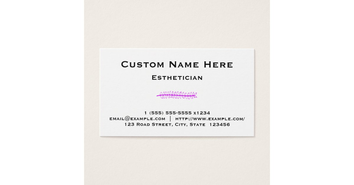Clean and Basic Esthetician Business Card | Zazzle.com