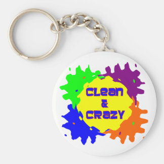 Clean and Crazy Basic Round Button Keychain