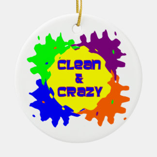Clean and Crazy Double-Sided Ceramic Round Christmas Ornament