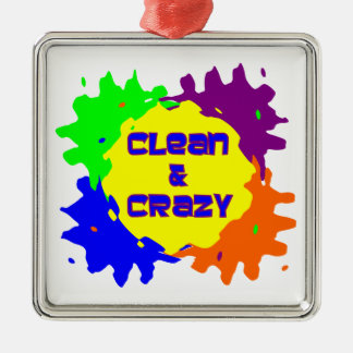 Clean and Crazy Square Metal Christmas Ornament