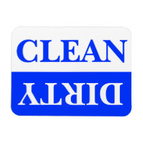 Clean and Dirty Dishwasher Magnet, Blue Magnet