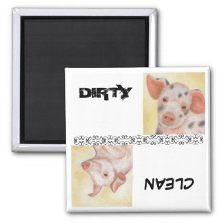 Clean and Dirty Piggie Dishwasher Magnet zazzle_magnet