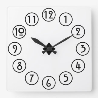 Clean and Simple Black on White Square Wall Clock