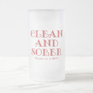 CLEAN AND SOBER FROSTED GLASS BEER MUG