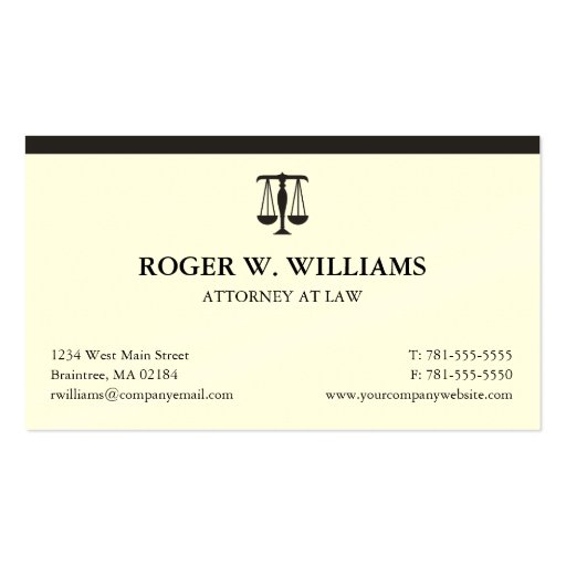 Clean Attorney Business Card - Add Your Logo