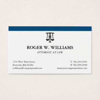 Clean Attorney Business Card with Justice Scale