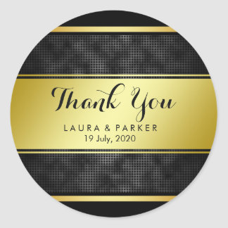 Clean Black Gold Striped Thank You Wedding Classic Round Sticker