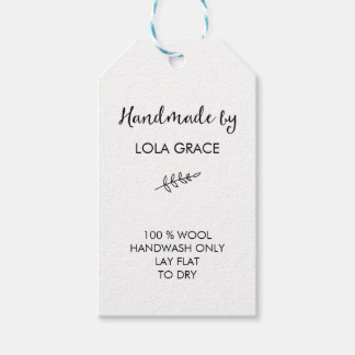 Clean Black & White Handmade by Gift Tags