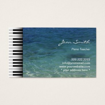 Beach Themed Clean Blue Sea Water Music Piano Teacher Business Card