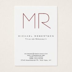 Clean Chic Monogram Large Professional Business Card at Zazzle