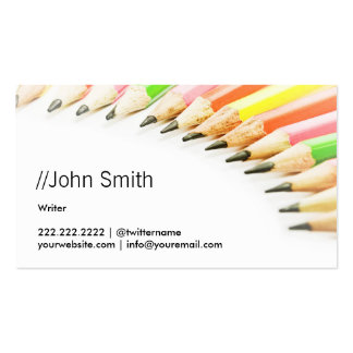 Clean Colorful Pencils Writer/Editor Business Card