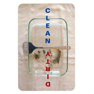 Clean/Dirty Baking Pan Vertical Text 4x6 Magnet