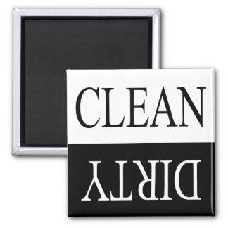 Clean dirty-Black dishwasher magnet