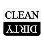 Clean dirty black dishwasher vinyl magnets