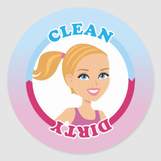 Clean Dirty Blonde Girl Magnet Classic Round Sticker