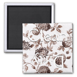 Clean Dirty Brown Vintage Floral Toile Dishwasher Magnet